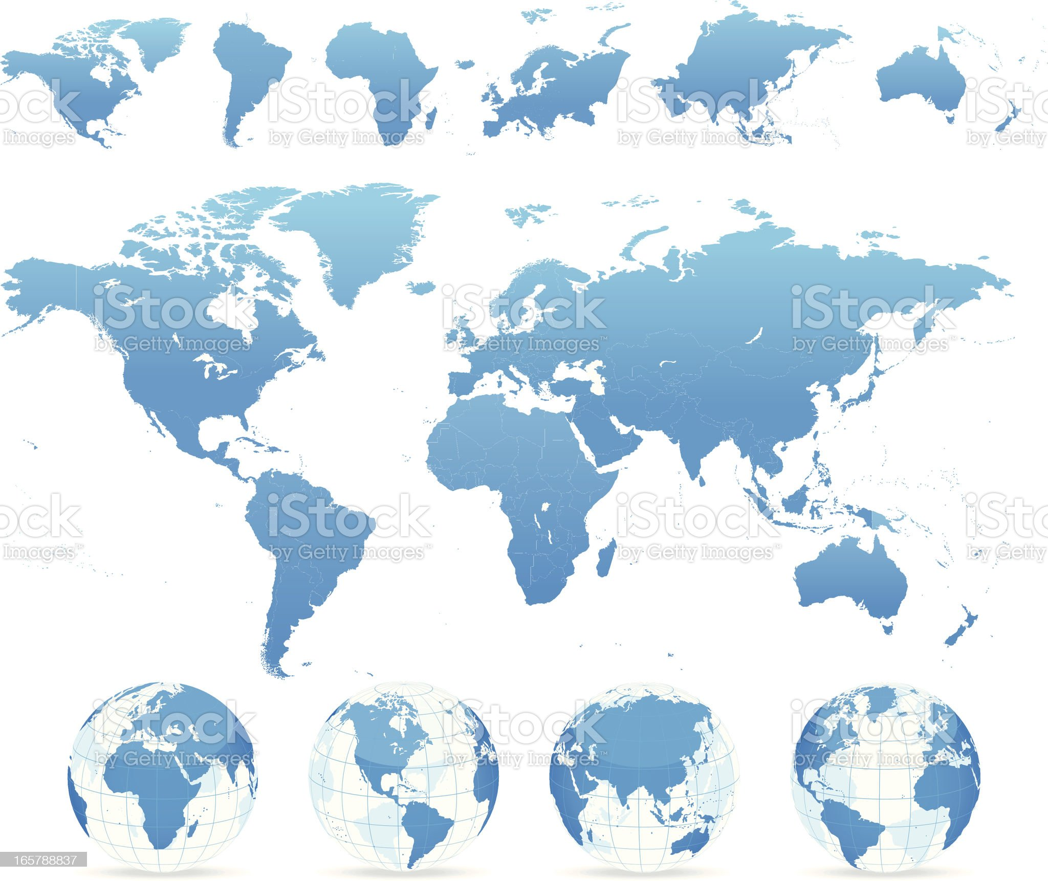 World map blue - countries, continents, globes royalty-free stock vector art