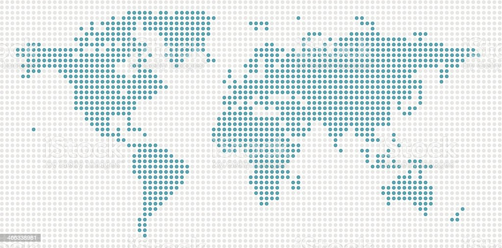 World Map Blue Dots vector art illustration
