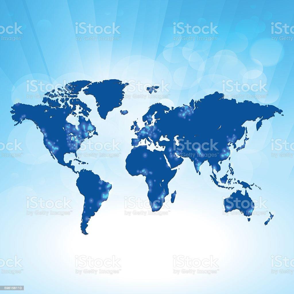World map blue translucent light pollution on sky background vector art illustration