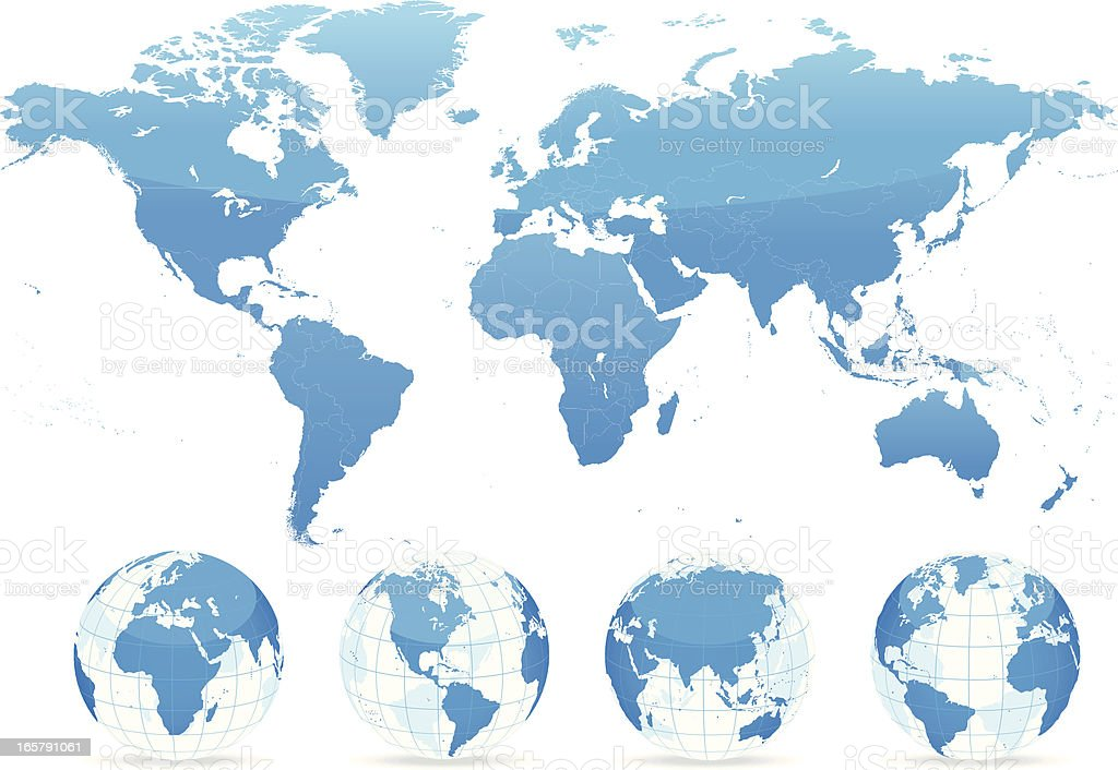World map blue with countries and globes vector art illustration