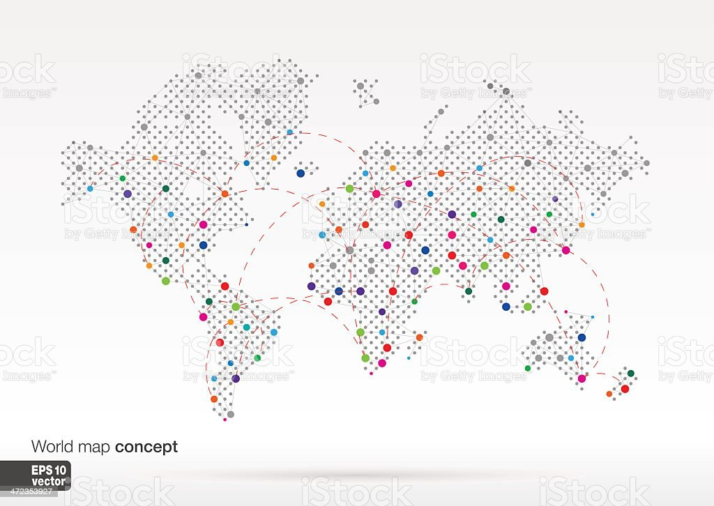 World map concept with dots on big cities connected by lines royalty-free stock vector art