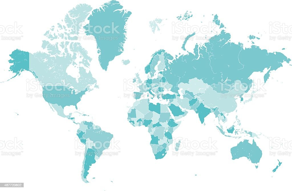 world map countries blue vector vector art illustration