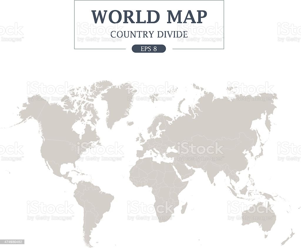 World Map Country Divide on White Background. Grey Color vector art illustration