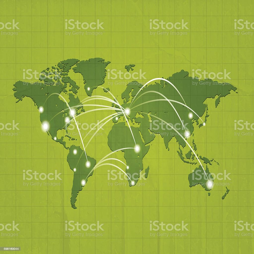 World map dark green with travel locations on carboard background vector art illustration