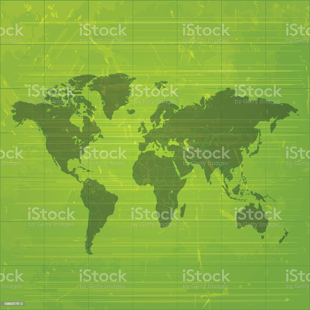 World map dark olive green on grungy metal background vector art illustration