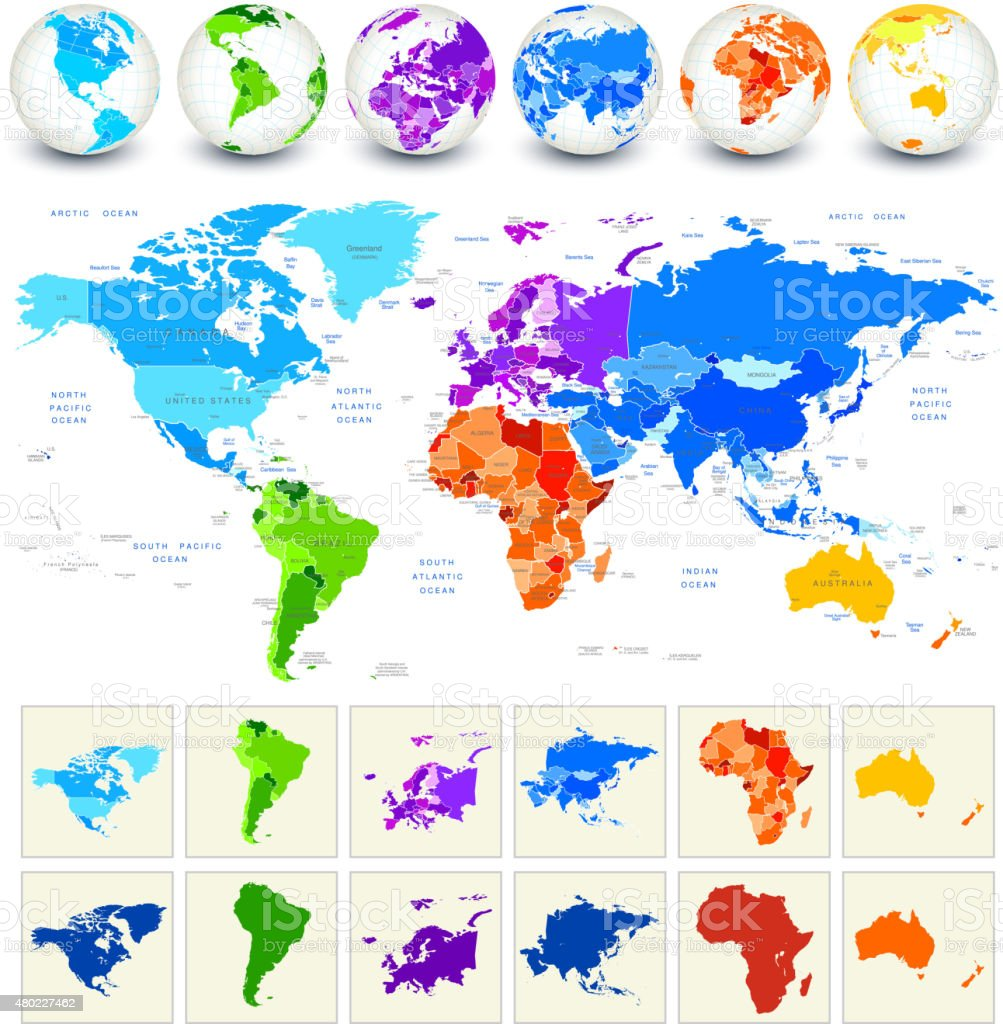 World Map Detailed Geography in Full Color vector art illustration