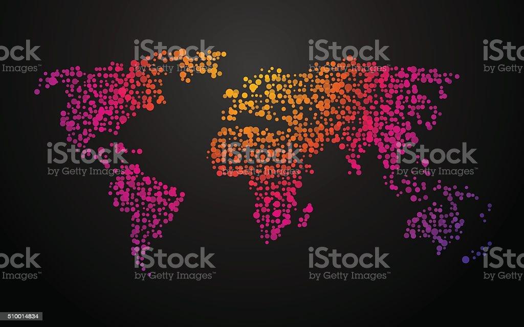 world map dots color gradient vector art illustration