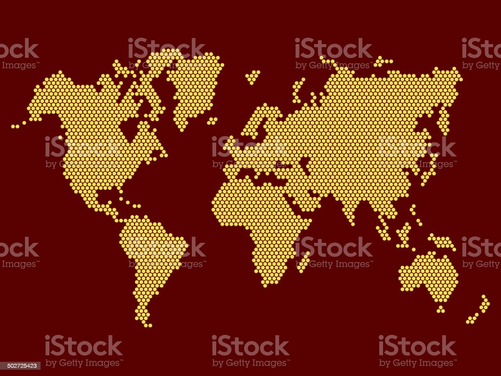 World Map Dotted on Dark Background. Vector royalty-free stock vector art