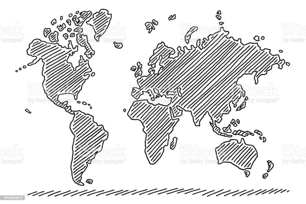 World Map Drawing vector art illustration