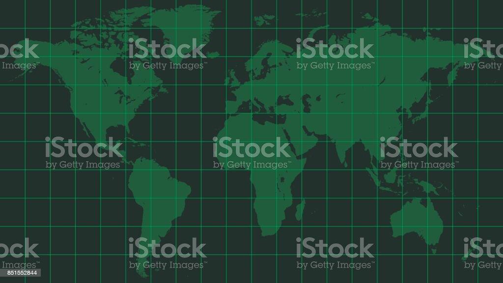 world map earth, dark green radar screen matrix style vector art illustration