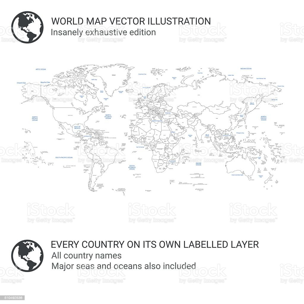 World Map - Every country on its own layer vector art illustration