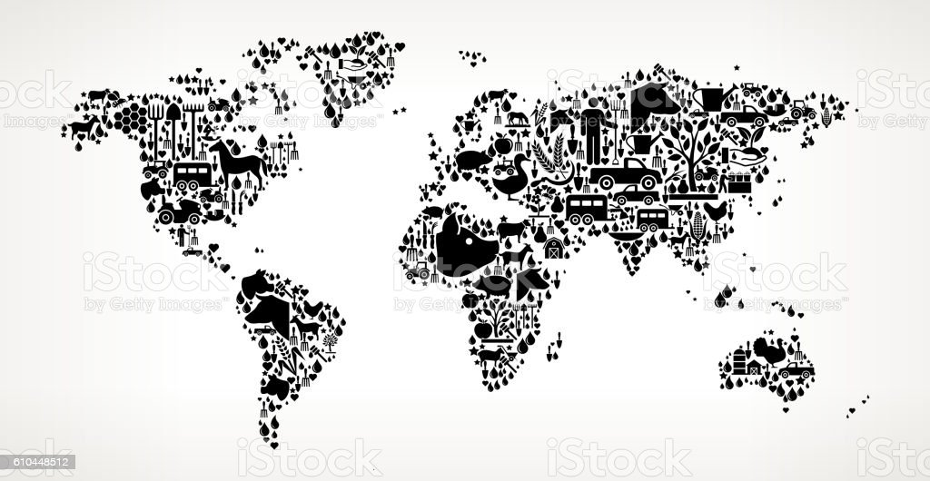 World Map Farming and Agriculture Black Icon Pattern vector art illustration