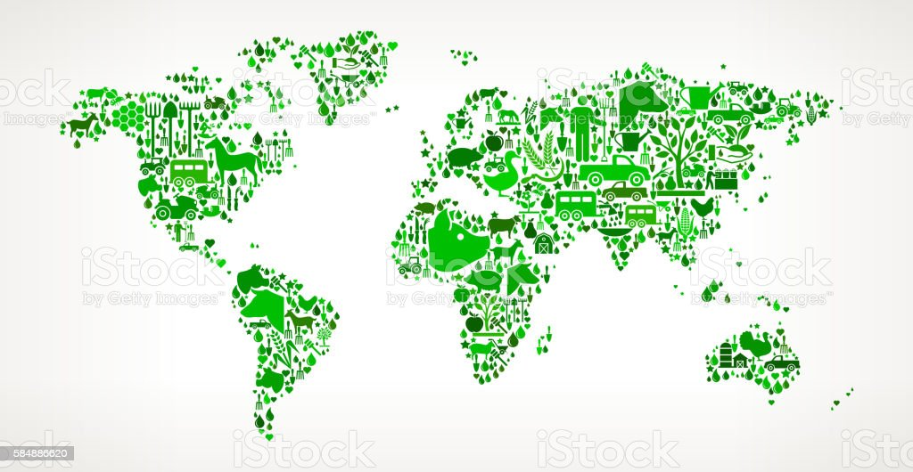 World Map Farming and Agriculture Green Icon Pattern vector art illustration