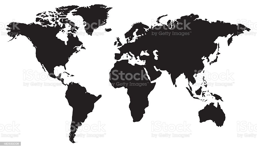 World map flat design in black and white vector art illustration