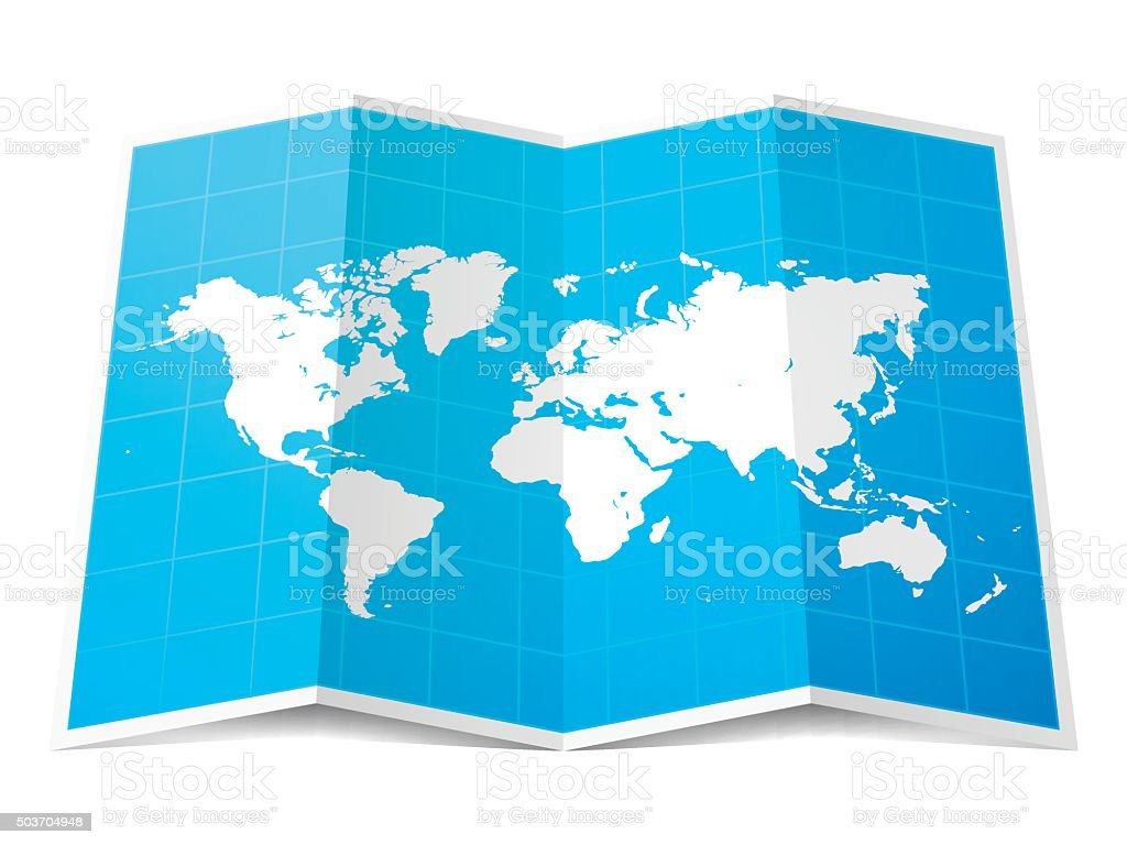 World Map folded, isolated on white Background vector art illustration