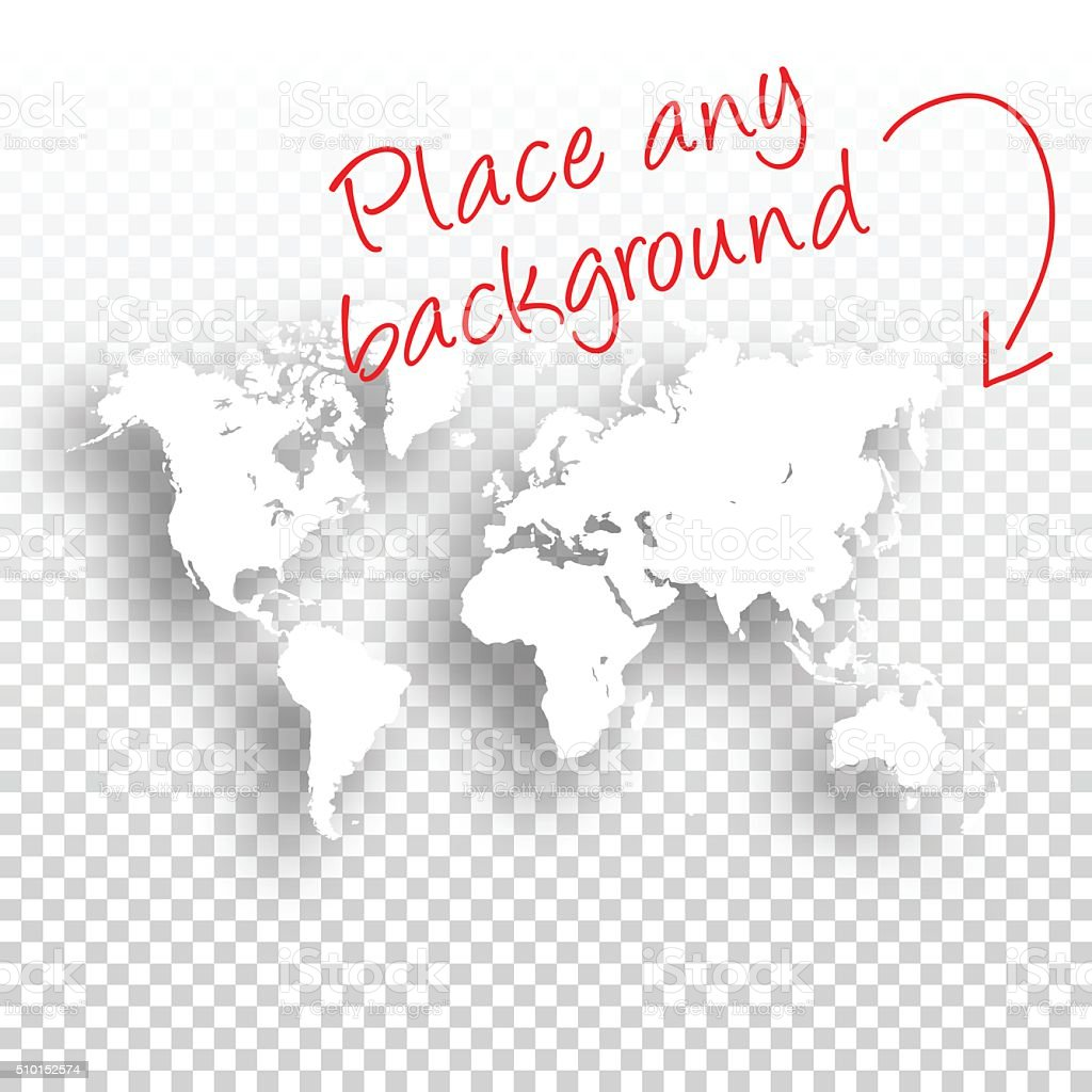 World Map for design - Blank Background vector art illustration