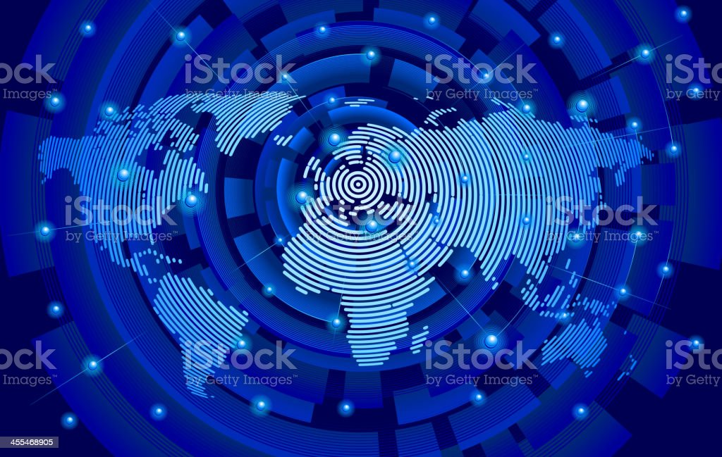 World map from circle, center in Europe global communications royalty-free stock vector art