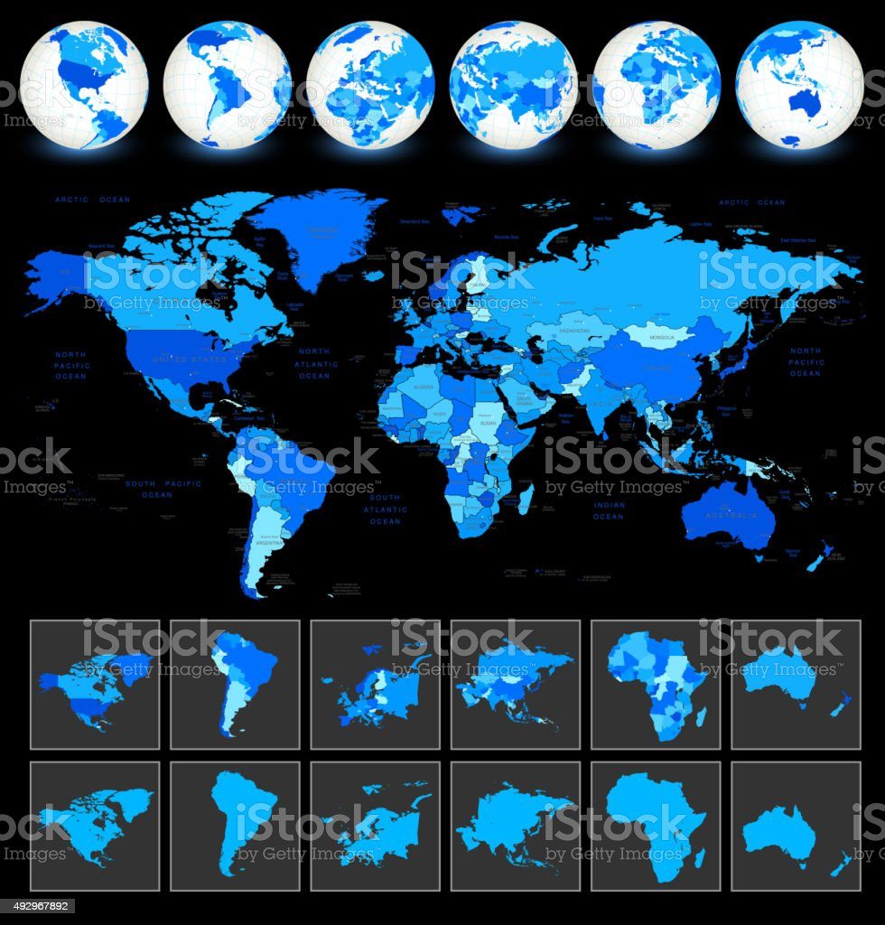 World Map Geography vector art illustration