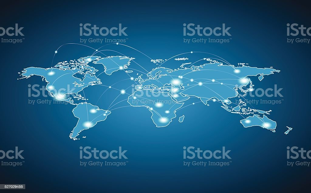 World Map - Global Connection vector art illustration