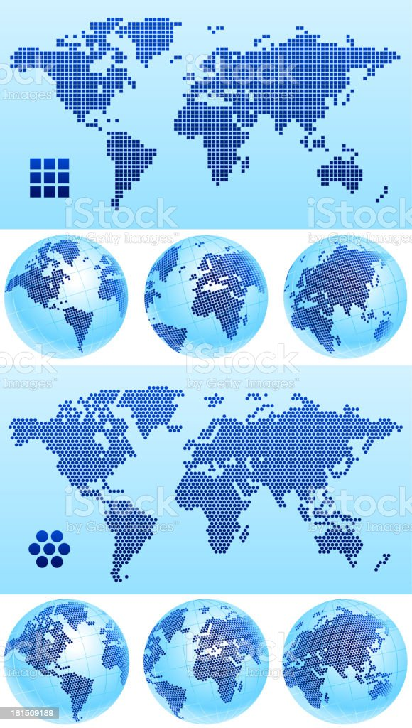 World Map globe dotted royalty-free stock vector art