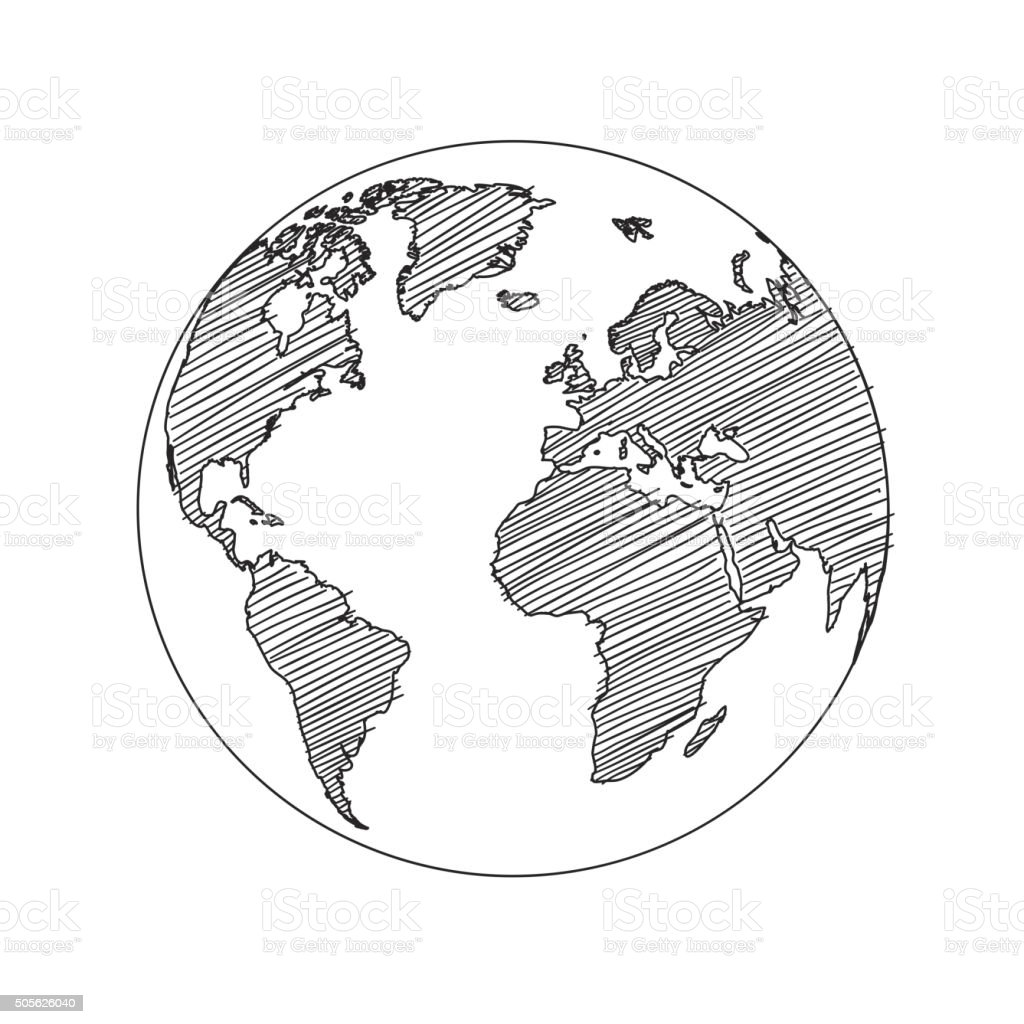 World map globe sketch vector vector art illustration
