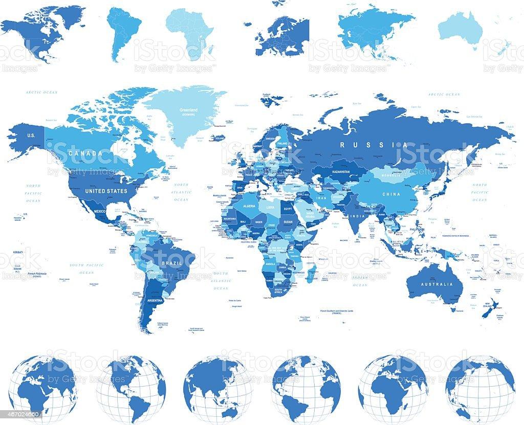 World Map, Globes, Continents - illustration vector art illustration