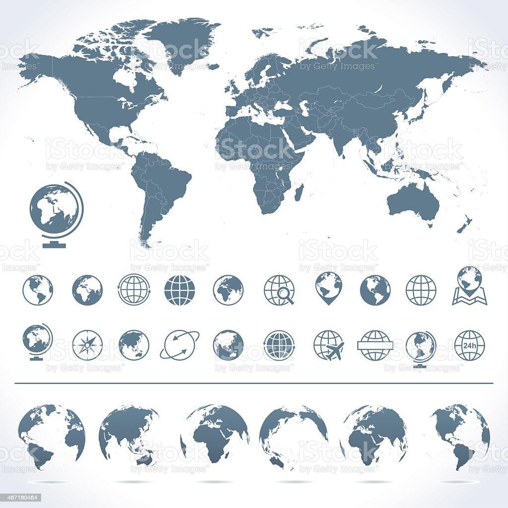 World Map, Globes Icons and Symbols - Illustration vector art illustration