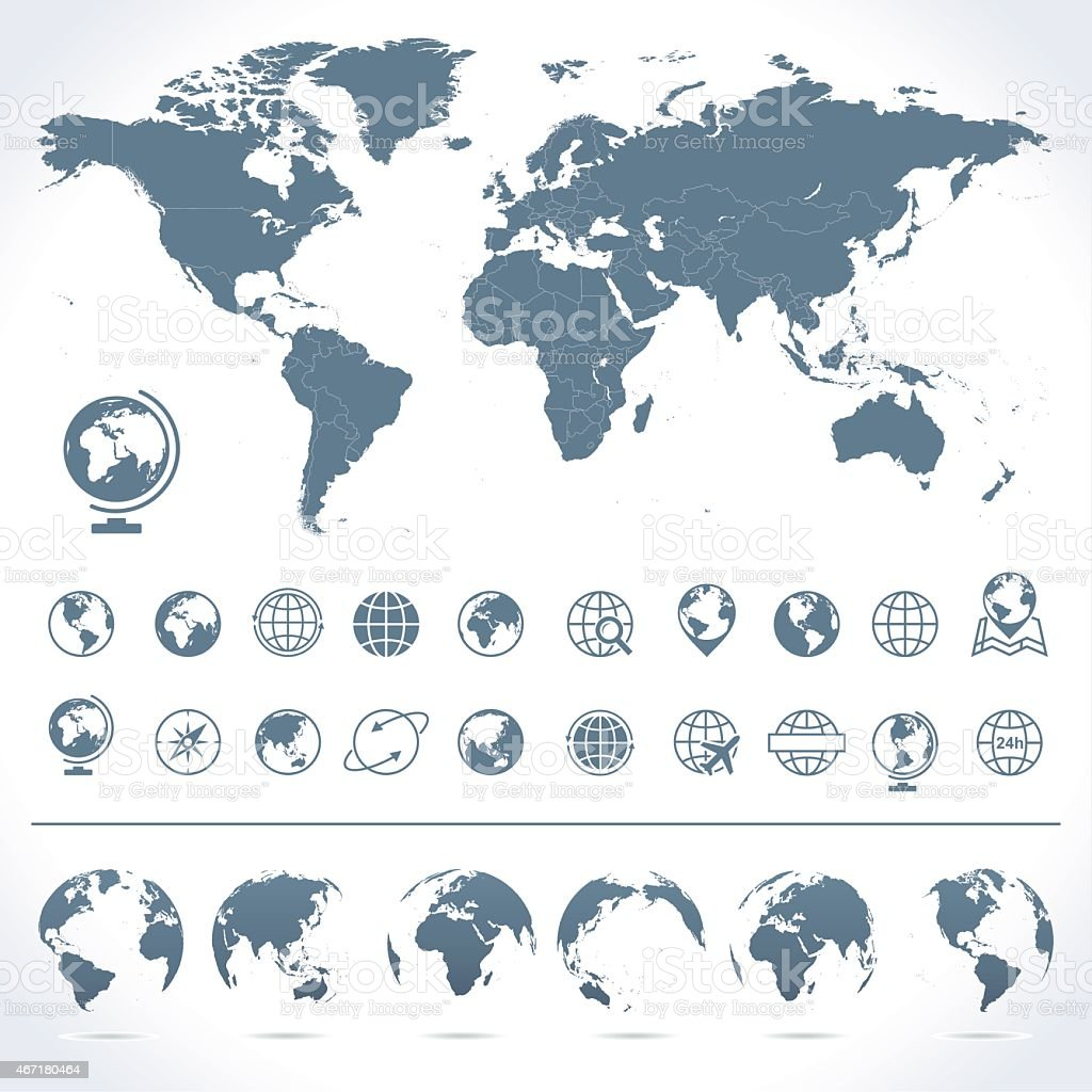 World Map, Globes Icons and Symbols - Illustration vector art illustration