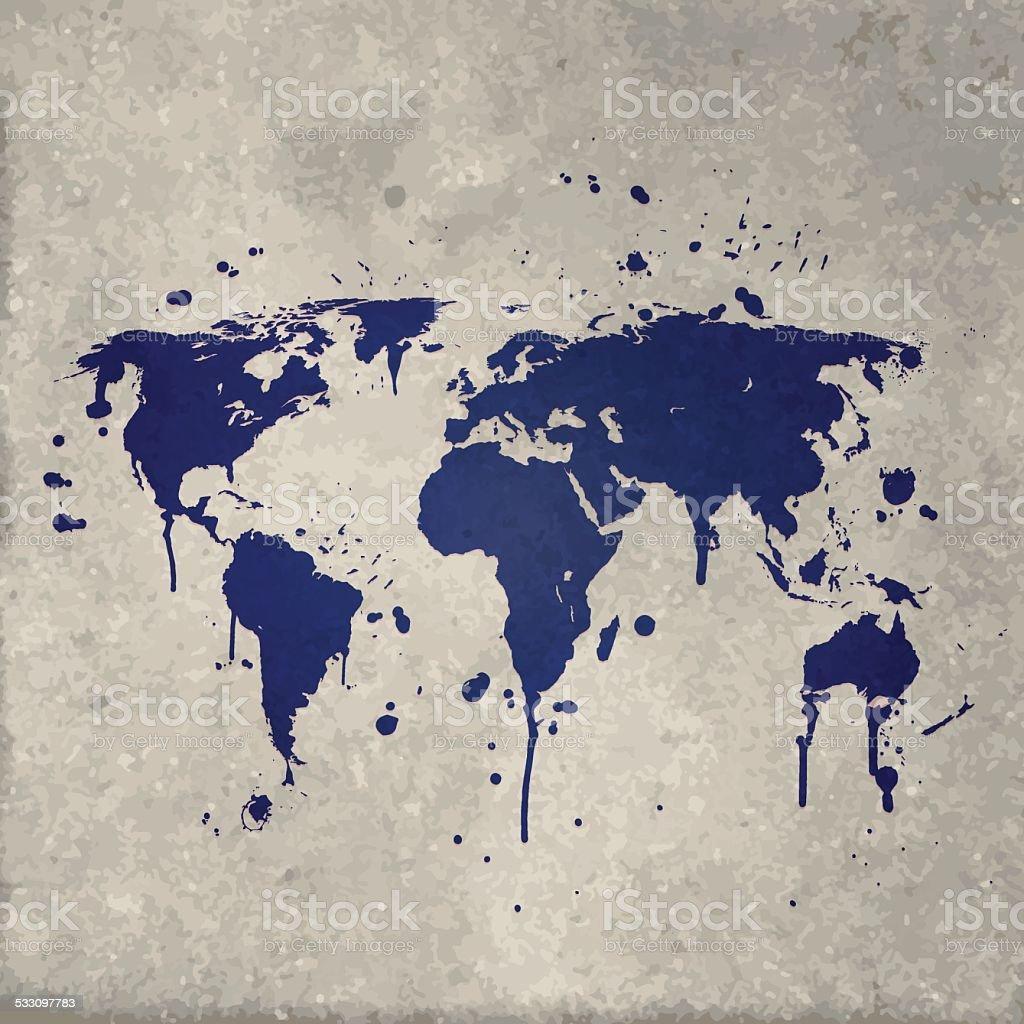 Graffiti wall vector free - World Map Graffiti Blue Splats On Wall Royalty Free Stock Vector Art