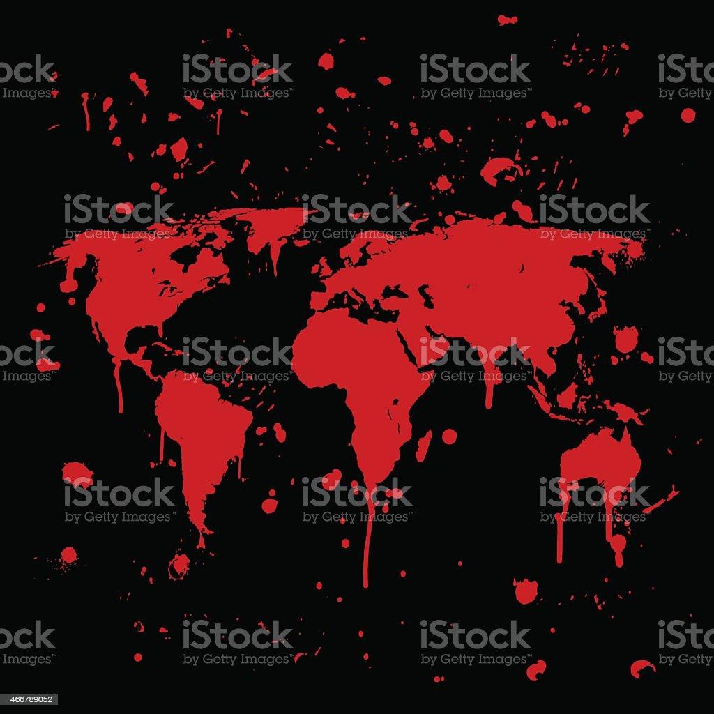 World map graffiti red splats on black wall vector art illustration