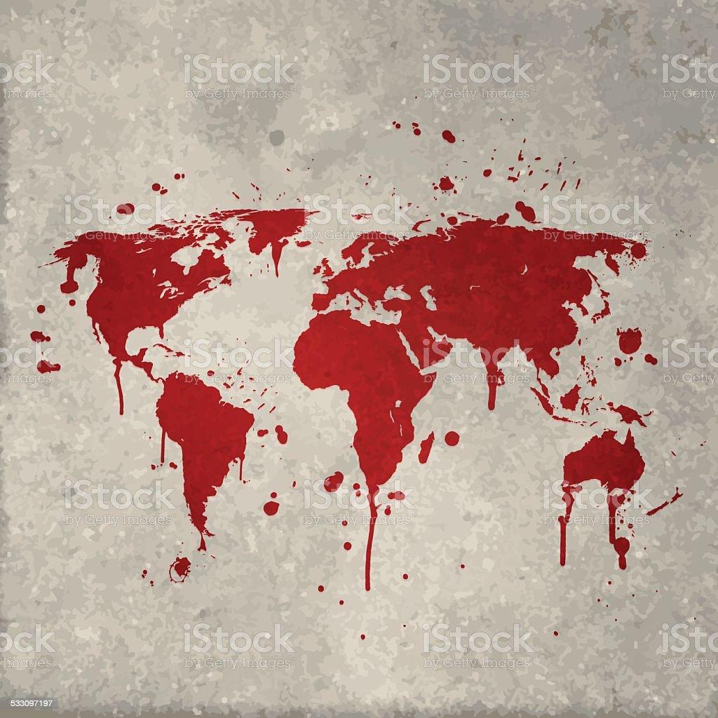 World map graffiti red splats on wall vector art illustration