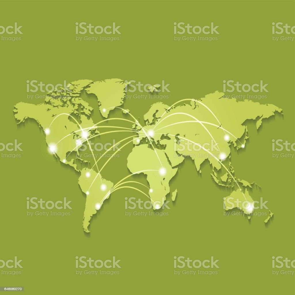 World map green colors with connections vector art illustration