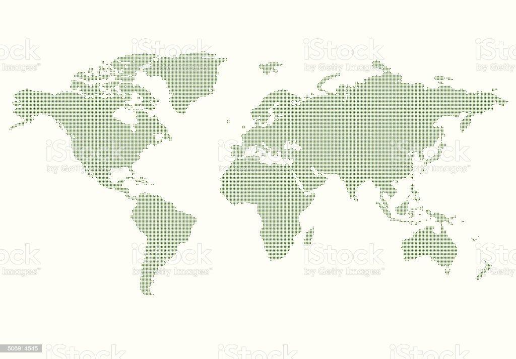 World Map green vector art illustration