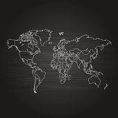 World map grey outline on black gradient lines background
