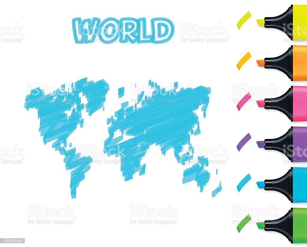World map hand drawn on white background, blue highlighter vector art illustration