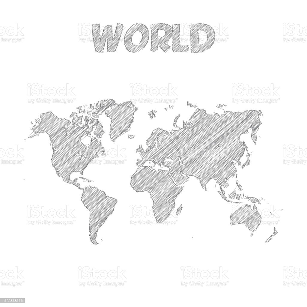 World map hand drawn on white background vector art illustration