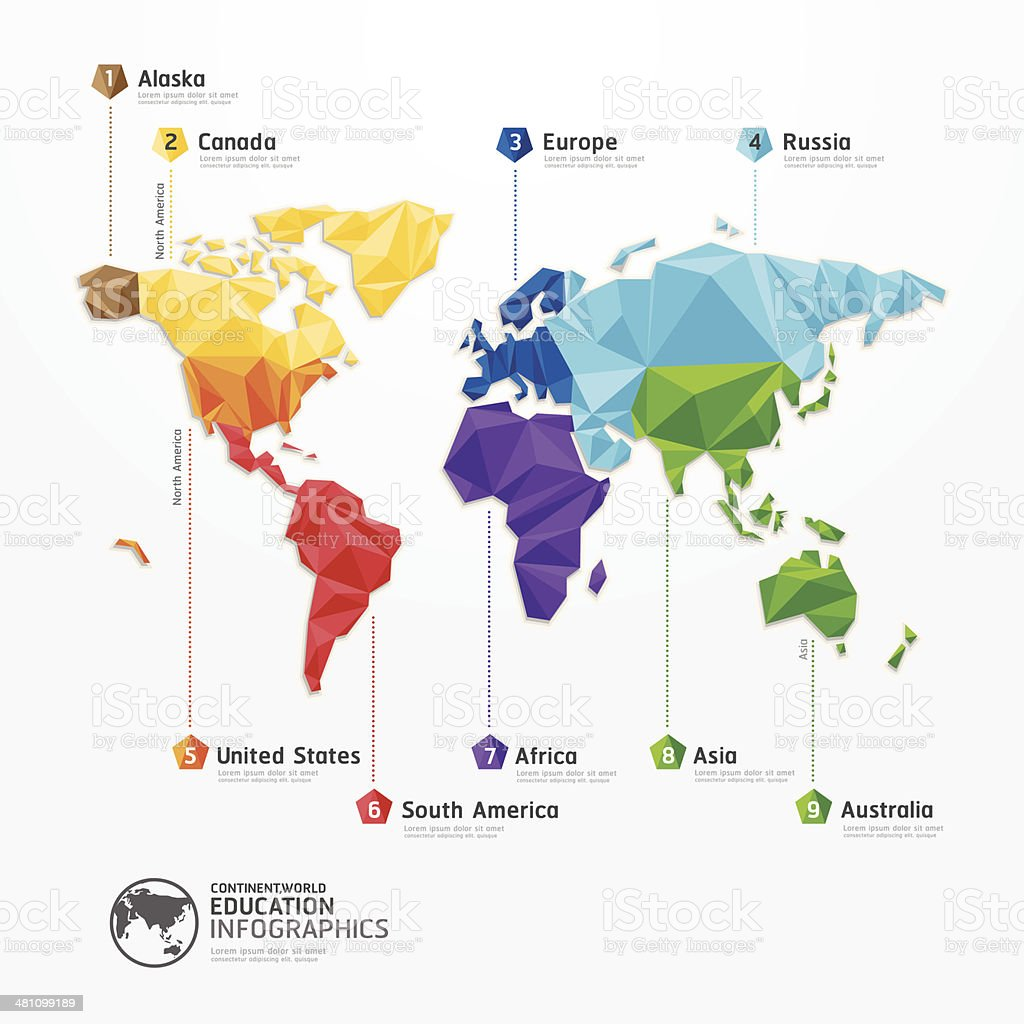 world map illustration infographics geometric concept design vector art illustration