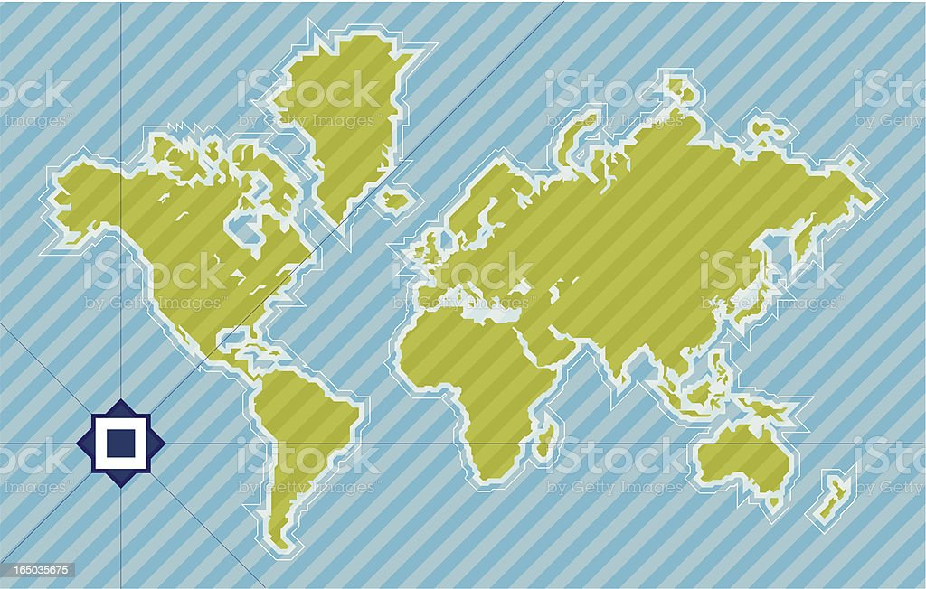World map in 45 degrees vector art illustration