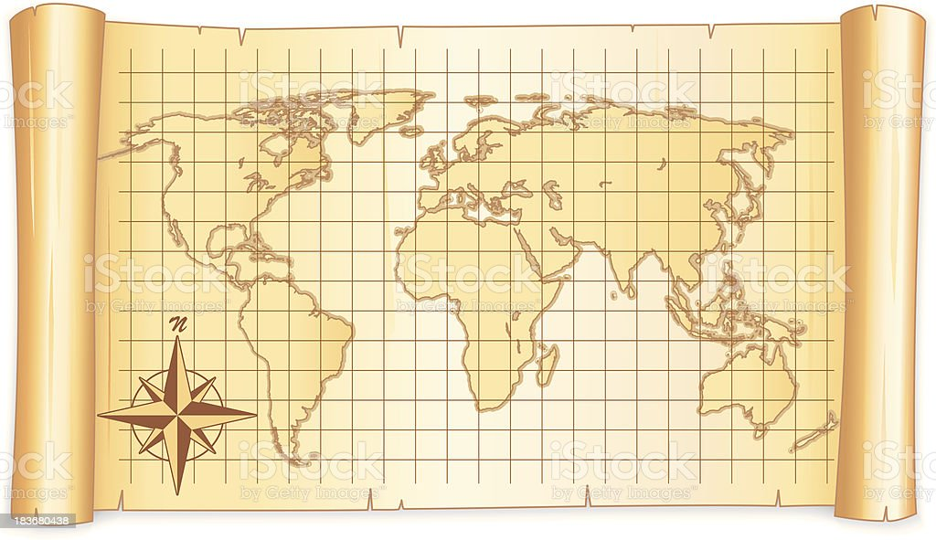 World map in a scroll vector art illustration