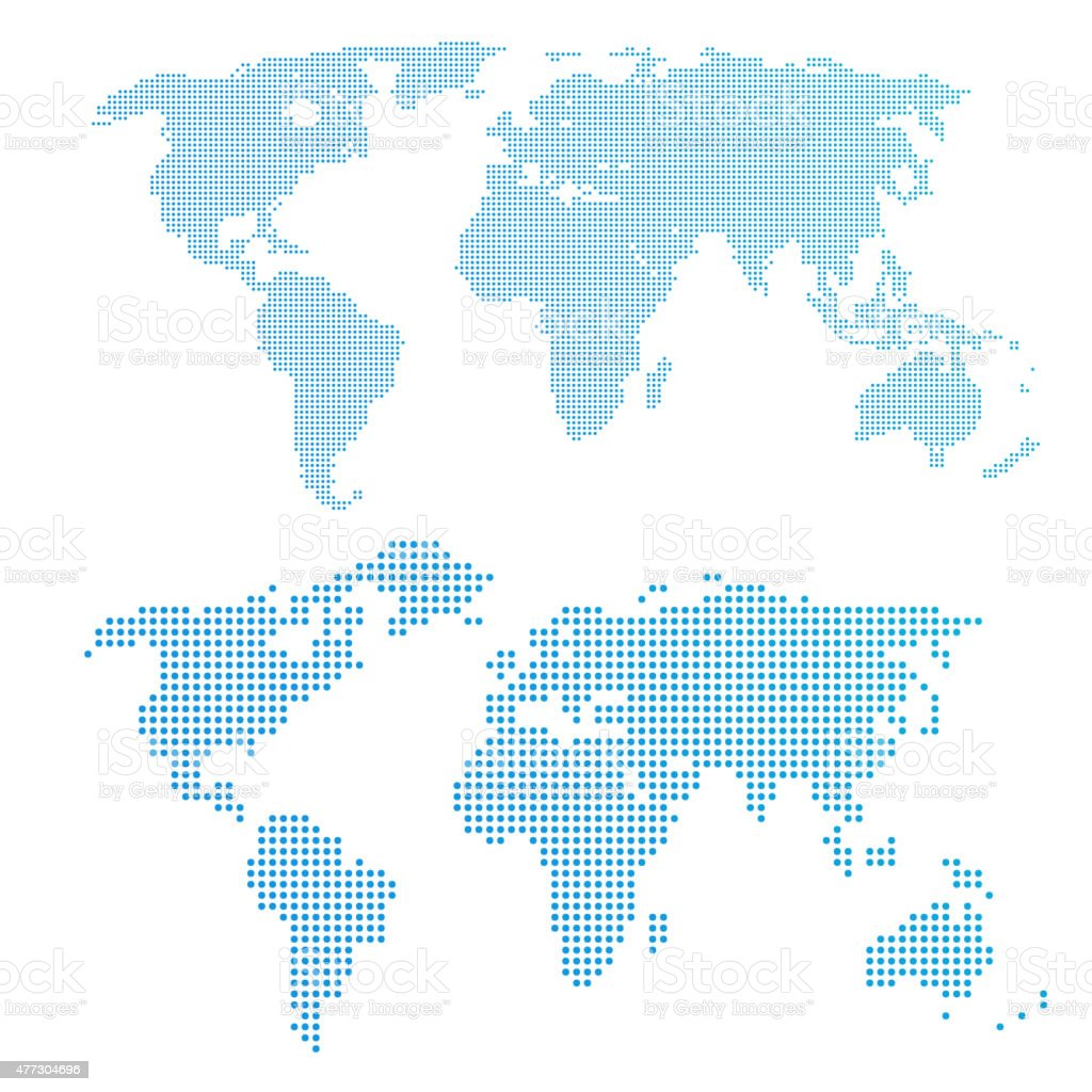 World map in dots, blue color. vector art illustration