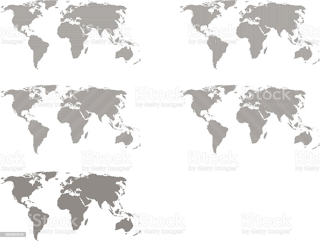 World Map in Five Different Designs vector art illustration