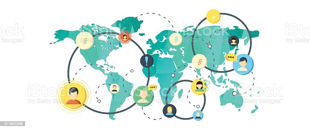 world map in flat design vector art illustration
