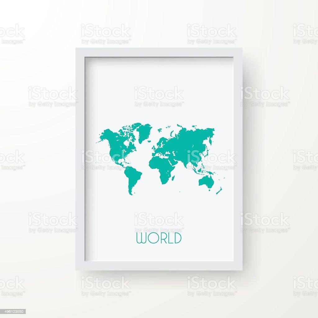 World Map in Frame on White Background vector art illustration