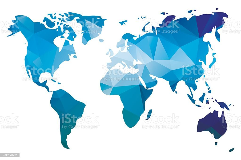 World map in geometric triangle pattern design, vector illustration vector art illustration