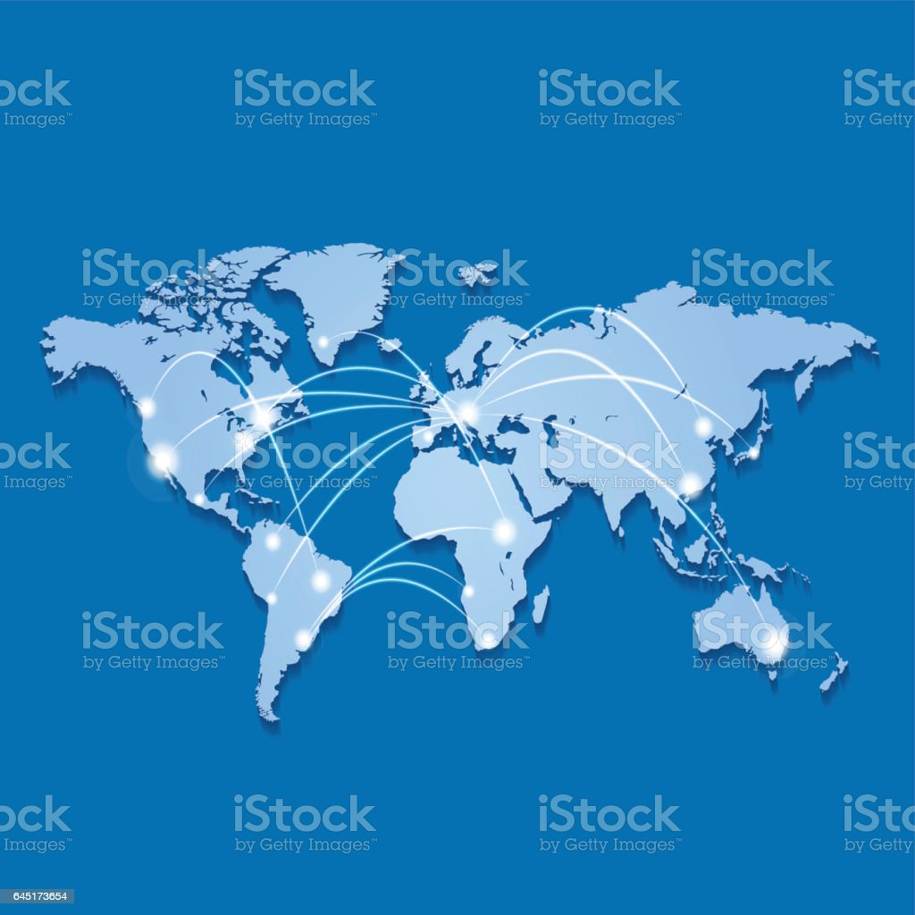 World map in light blue on marine background with connections vector art illustration