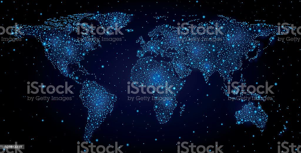 World map in night sky vector art illustration