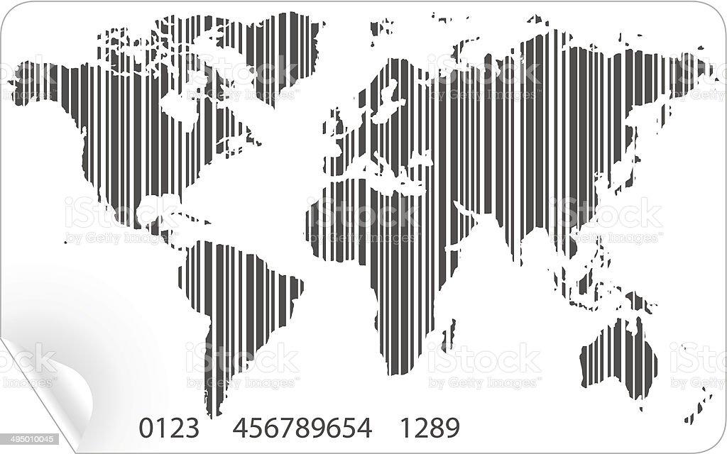 Mapa-múndi em vetor de conceito de código de barras vetor e ilustração royalty-free royalty-free