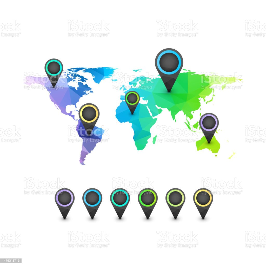 World map infographic of rainbow color vector art illustration