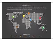 World map infographic with colorful pointers vector illustration