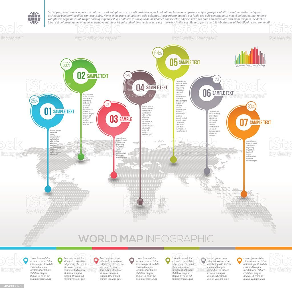 World map infographic with map pointers vector art illustration
